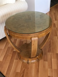 Hand crafted walnut glass top feature table Vancouver, V5R 5H9