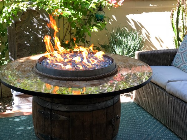 Wine Barrel Fire Pit Table Fireplace Outdoor Furniture Lazy Susan