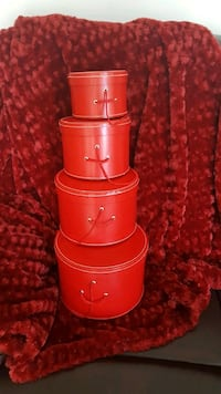 4 Red Round Decorative Boxes Toronto, M9N 0A4