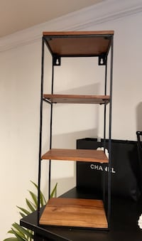 4tier wrought iron with wood shelves