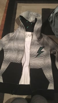 white and black stripe zip up hoodie