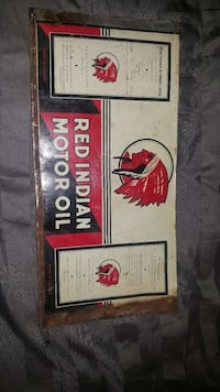 Antique Red Indian Motor Oil sign