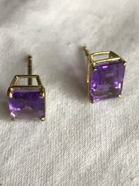 Two purple real amethyst earrings organic enchanted good luck jewelry magical spirit blessed