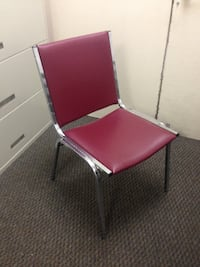 Faux leather Burgundy metal chairs - nice quality - 14 total  Culver City