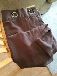 4 Brown faux Suede Curtain Panels