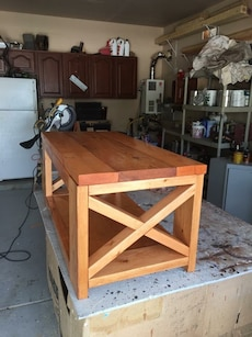 All stained Solid  X Coffee table
