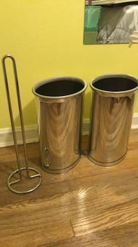 Metal waste baskets and tp holder