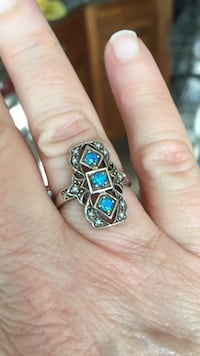 silver and blue gemstone ring -7- New York, 11231