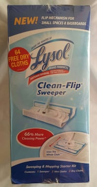 Lysol Clean Flip Sweeper + 64 extra cloths New