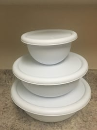 White plastic bowl and cover brand new