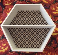 Retro Honeycomb White Wooden Wall Shelf NEW IN BOX! Spring Hill