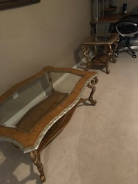 brown wooden framed glass top coffee table Edmonton, T5X 6K3