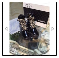 black and gray leather boots Laurel, 20723