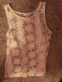 white floral scoop neck sleeveless top Macomb, 48042