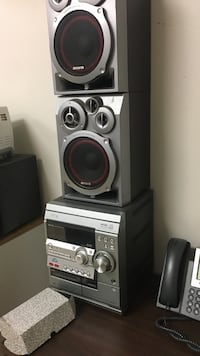gray Sony shelf stereo