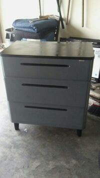 gray wooden 3-drawer chest