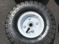 """NEW 4 TIRE SET of 4 10"""" STEEL AIR PNEUMATIC HAND TRUCK DOLLY WAGON  WHEEL & TIRE Lansdowne"""