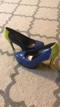Blue-and-green patent leather platform heeled shoes Woodbridge, 06525