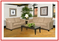 Tan Microfiber Sofa and Loveseat - NEW Windsor Mill
