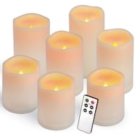 """Brand New Seal In Box Flameless Candles, Outdoor Indoor Led Candles Set of 7(D 3"""" x H 4""""4""""4""""5""""5""""6""""6"""") Waterproof Battery Candles with Remote Timer Hayward, 94544"""