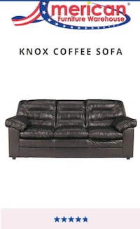 Bonded black leather 3-seat sofa and Loveseat Aurora, 80015