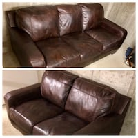 Leather Couch & Loveseat (Ashley Furniture) Orange