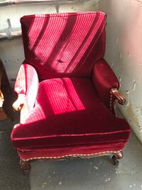 red mohair chair with mahogany frame. 1920's JB Van Sciver. OBO.