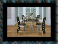 Counter height glass dining table with 4 chairs Columbia