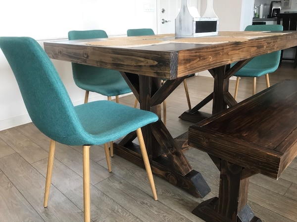 Farmhouse Dining Table And Bench Set With X Style Legs