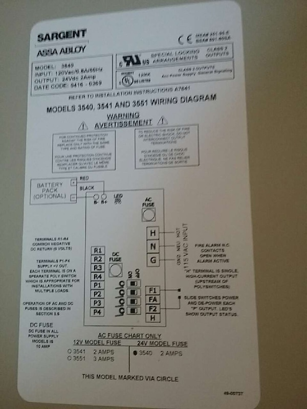Used Sargent a Abloy 3540, 3541 and 3651 wiring diagram ... on