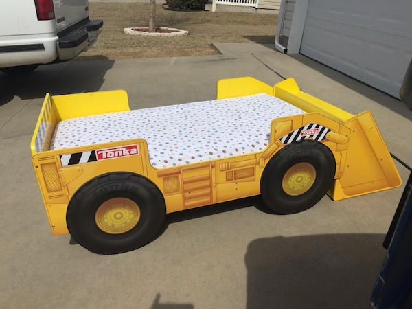 Used Tonka Truck Toddler Bed With Storage Shelf Mattress Included