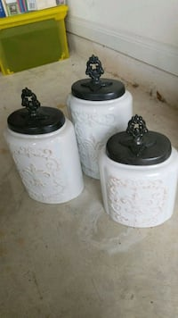 white and black ceramic canisters Houston, 77089