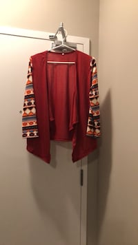 Red cardigan sweater with pattern sleeves size Medium Barrie, L4N 7Y8