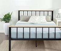 Queen Bed frame - black metal and wood