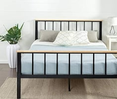 Bed frame - black metal and wood