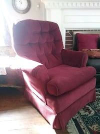 red fabric sofa chair with ottoman
