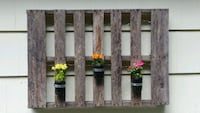 Rustic wooden lighted planter