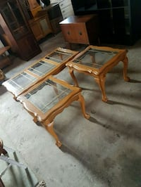 oak glass top coffee table set  Brampton, L6X