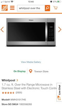 Over the range Whirlpool microwave Parkville, 21234
