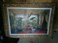 painting of house near river with brown wooden frame Stockton, 95210