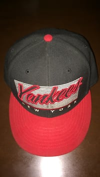 red and black Yankees fitted cap