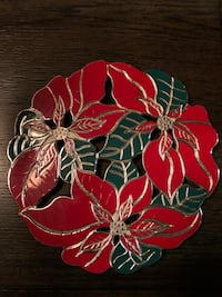 """Poinsettia trivet 8 1/2"""" wide hang on the wall or display on table Mooresville, 28117"""
