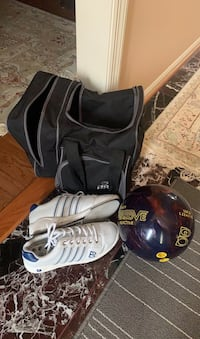 Bowling bowl, case, and shoes
