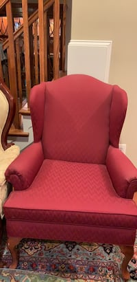 red fabric sofa chair with throw pillow Fairfax, 22032