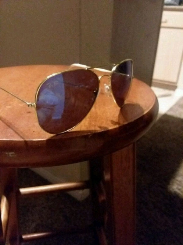 Ray ban men's blue and gold aviator sunglasses