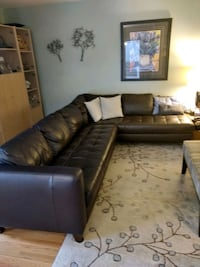 black leather sectional sofa with throw pillows Silver Spring, 20906