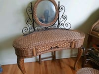 brown wicker frame glass top coffee table Dollard-des-Ormeaux, H9G 2P1
