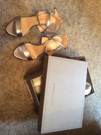 BCBG Maxazria women's pair of silver leather heels
