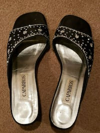 black satin black shoes with silver sequin Springfield, 22150