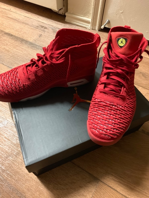 9e86d4b5b1cd Used pair of red Air Jordan basketball shoes for sale in Bossier City -  letgo